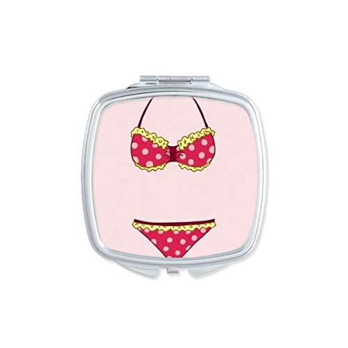 DIYthinker Sexy Pastèque Bikini Illustration Miroir carré Maquillage Compact Portable Mignon Miroirs de Poche à la Main Cadeau