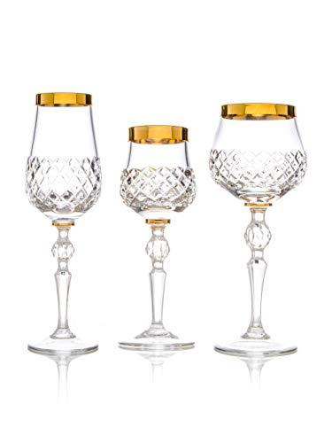 Juego de copas de cristal con borde dorado con 6 copas de champán (160 ml), 6 copas de vino (210 ml), 6 vasos de chupito (60 ml), 18 unidades, hechas a mano y cortadas, caja de regalo