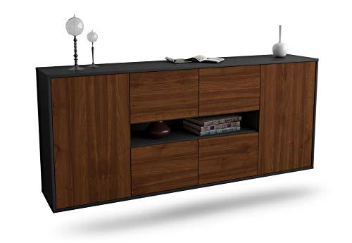 Dekati Sideboard Stamford hängend (180x77x35cm) Korpus anthrazit matt | Front Holz-Design Walnuss | Push-to-Open