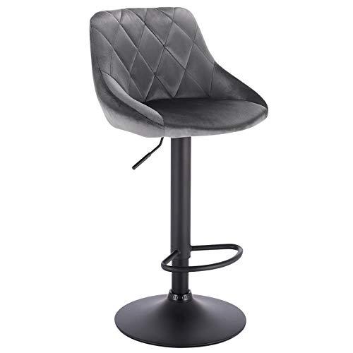 WOLTU BH219dgr-1 1er Barhocker Barstuhl, Gute gepolsterte Sitzfläche aus Samt, Höhenverstellbar, 360° Drehbar, Farbwahl, in Dunkelgrau