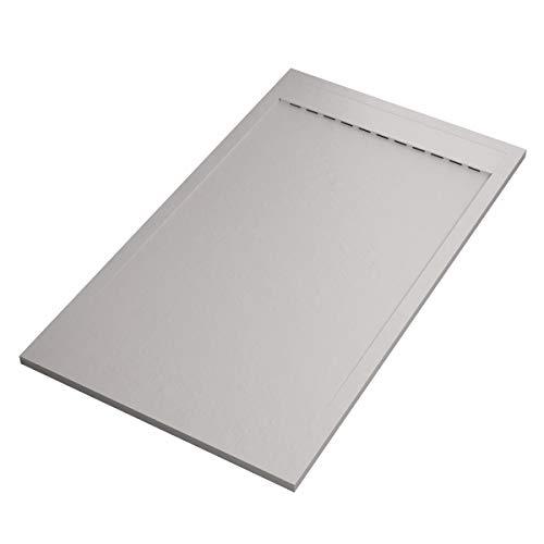 Prestige Mineral Receveur de douche en marbre, grille latérale, blanc 80x110