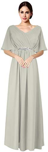 VaniaDress Women V Neck Half Sleeveles Long Evening Dress Formal Gowns V265LF Gray US18W