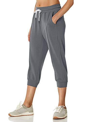 SPECIALMAGIC Pantaloni da donna Capri Pantaloni sportivi casual sportivi sportivi in spugna francese allenamento cropped Joggers pantaloni con tasche Grigio scuro M