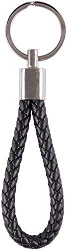 Wedo 2053421 Schlüsselanhänger Don, Metall/Kunstleder (PU), 13.5 x 3.5 x 0.8 cm, schwarz/silber