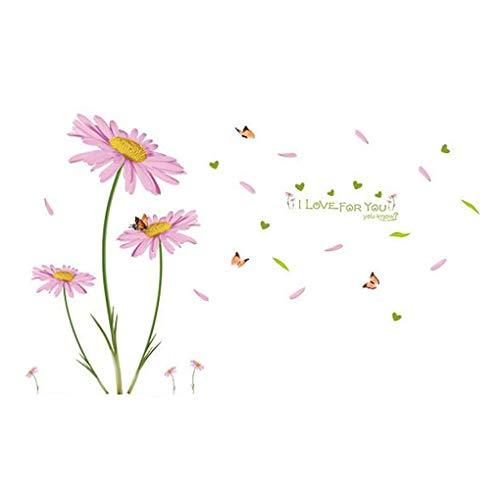 Mode Étanche Autocollant Mural DIY Amovible Art Papier Peint pour Bébé Garçon Fille Chambre Cuisine Fenêtre,Daisy Flowers Butterfly