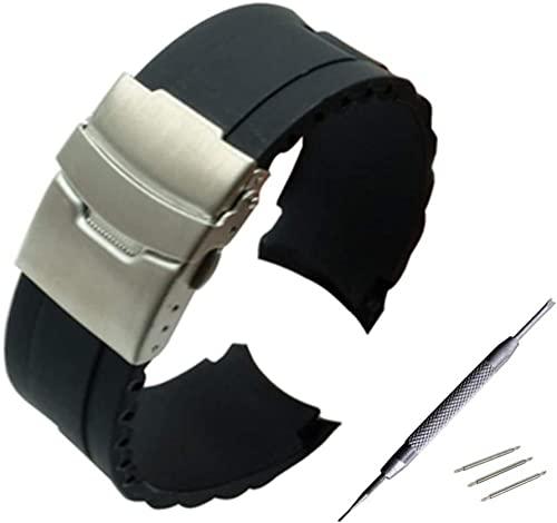 Correa de reloj 16 mm 18 mm 20 mm 22 mm 24 mm 26 mm Caucho de silicona Correa de reloj de arco de silicona con hebilla de cierre de acero inoxidable plegable y correa de reloj para herramientas-1