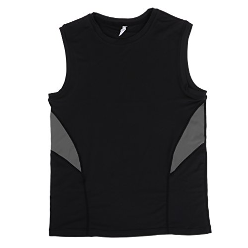 Homyl Compression T-Shirt sans Manches de Sports,Gym,Cyclisme,Course Vêtements Sportswear Séchage Rapide Respirant - Noir Gris, L