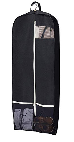 SLEEPING LAMB Breathable Gusseted Garment Bag 54' Dress Suit Cover with 2 Large Mesh Pockets, Black