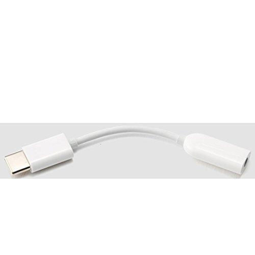Original XIAOMI USB de audio de c/TYPE C a Diseño Trenzado convertidor adaptador USB C a jack 3,5mm hembra/Cable Auxiliar/Longitud Aprox. 7cm en color blanco