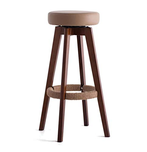 Barhocker Holz Barhocker Kunstleder Gepolsterte Sitz Hanf Seil Fußstütze Stuhl für Küche Restaurant Bar Counter