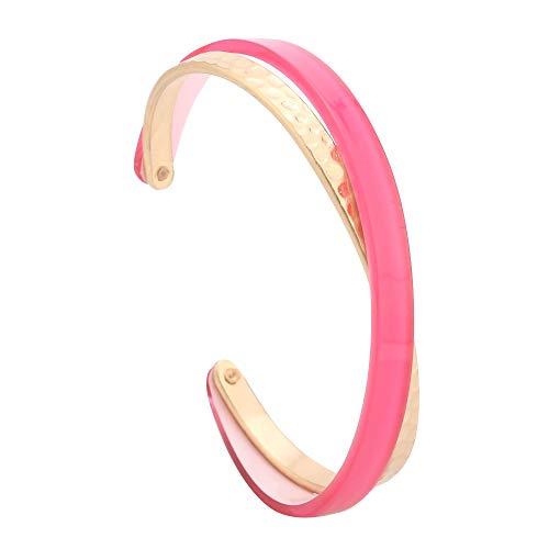 ERAN Acryl Manschette Armreif Schildkröte gehämmert Metall Celluloid Acetat Manschette Armband für Frauen Mädchen (Color : Neon Pink)