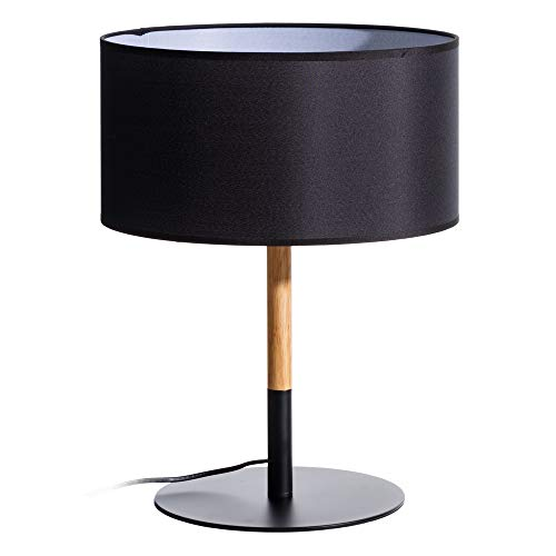 Lámpara de mesa nórdica de madera y metal negra de 47 cm - LOLAhome