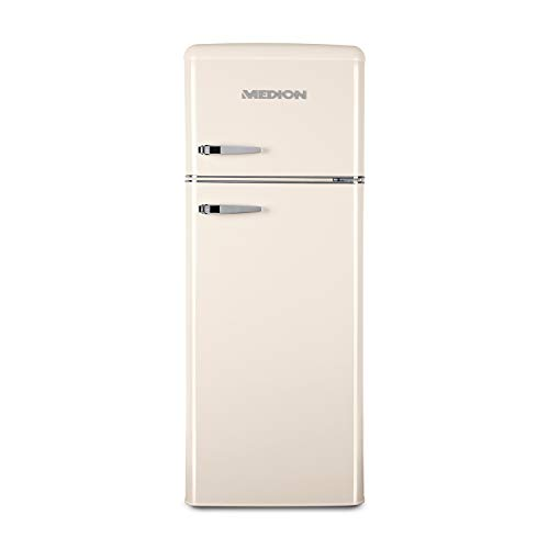 MEDION Retro Kühl-Gefrierkombination (Kühlschrank, 4 Sterne Gefrierfach, 208 Liter Nutzinhalt, Temperaturkontrolle, Retro-Design, MD 37258) creme
