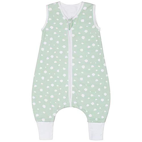 Premium Baby Schlafsack mit Füßen Sommer, Bequem & Atmungsaktiv, 100% Bio-Baumwolle, OEKO-TEX Zertifiziert, Flauschig, Bewegungsfreiheit, 1.0 TOG von emma & noah (Punkte Mint, 90 cm)