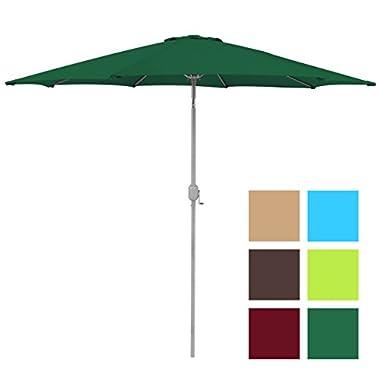 Best Choice Products 9ft Aluminum Outdoor Umbrella Patio Umbrella w/Crank Tilt - Green