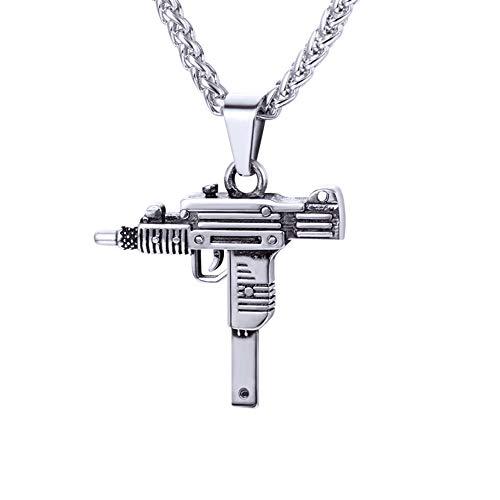 U7 Sturmgewehr Mini Uzi Anhänger Halskette Edelstahl Coole Armee Gewehr Form 60cm/3mm Weizenkette Männer Jungen Hip Hop Modeschmuck Geschenkidee für Geburtstag