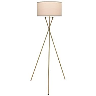 Brightech Jaxon LED Tripod Floor Lamp – Mid Century Modern with Contemporary Innovation – Soft Ambient Lighting Tall Standing Easel Survey Lamp for Bedroom, Den, Family or Living Room or Office –Brass