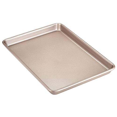 CHEFMADE 13Inch Rimmed Baking Pan NonStick Carbon Steel Cookie Sheet Pan for Oven Roasting Meat Bread Jelly Roll Battenberg Pizzas Pastries 13quot x 9quot Champagne Gold