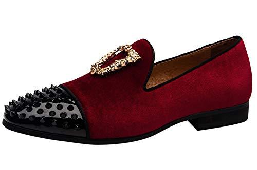 Mocasines Hombre Verano Terciopelo Moda Oro Hebilla Slip on Vestir Zapatos de...