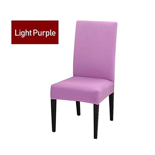 21 kleuren effen kleuren licht beige wit elastische eetkamer bureaustoel bekleding verwijderbare wasbare stretch bekleding bruiloften, lichtpaars, 1 stuks