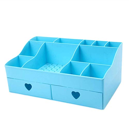 BOX Cosmétiques Boîte de Rangement En Plastique de Type Tiroir de Bureau Lipstick Bijoux Soins de La Peau Produits Stockage Affichage Boîte 30,8 × 18,5 × 13 Cm,Bleu