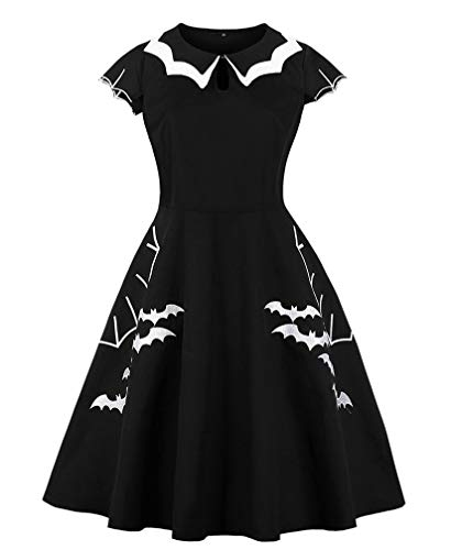 LeaLac Women's Cotton High Waist Plus Size Bat Spider Web Embroidery Halloween Vintage Witch Dress L134-D8092 Black XXL