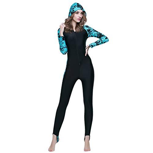 AIni Damen Neoprenanzug,Sport Wetsuit Schwimmen Surfanzug Surfen Tauchen Schnorcheln Anti UV Tauchanzug Einteiliger Schwimm Neoprenanzug Warme Schnorchelkleidung(XXXL,Blau)