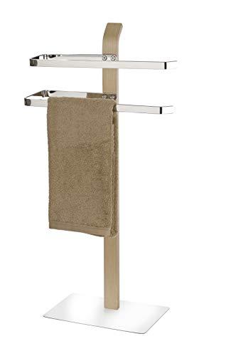WENKO Handtuchhalter Samona Nature, moderner Ständer für Hand- und Badetücher, auch geeignet als Kleiderständer, mit 2 Handtuchstangen, Schichtholz mit Chrom-Akzenten, 40.5 x 79.5 x 21.5 cm, Braun