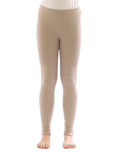 yeset Kinder Mädchen Thermo Leggings Fleece Hose lang Leggins aus Baumwolle beige 128
