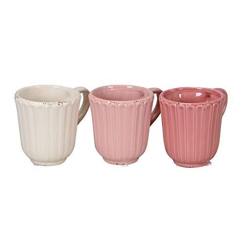 Posiwio 3tlg. Pflanztopf Tasse weiß rosa Blumentopf Becher Pflanztasse (3 Farben)