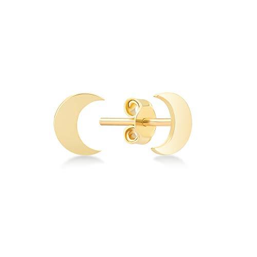 14k Solid Gold Polished Simple Crescent Stud Earrings with Secure Screw Backs - Stud Earrings for Women - Gelin Diamond