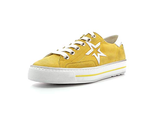 Paul Green Damen Sneaker 4810, Frauen Low-Top Sneaker, schnürschuh sportschuh Plateau-Sohle weibliche Ladies feminin Women,Mango/White,40 EU / 6.5 UK
