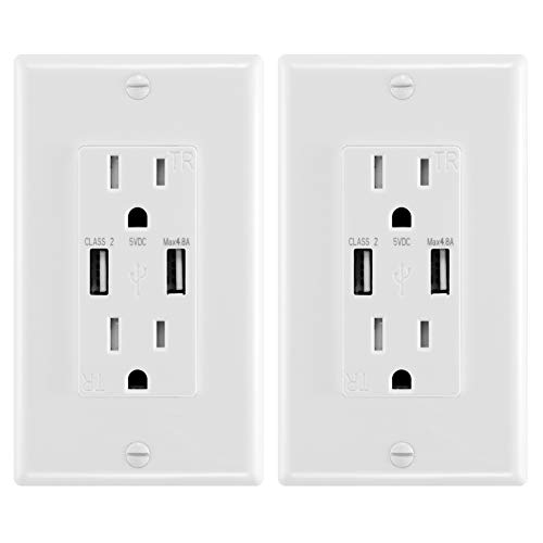 ANTEER 4.8A USB Wall Outlet Fast Charge - Dual High-Speed Charger Electrical Outlets - ETL Listed Duplex 15A Tamper Resistant Socket USB Outlets Receptacle - Wall Plate Included (White,2-Pack)