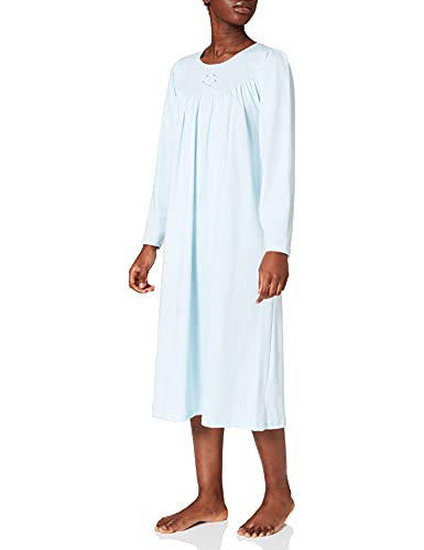 CALIDA Damen Soft Cotton Langarm Nachthemd, Hellblau, 40-42