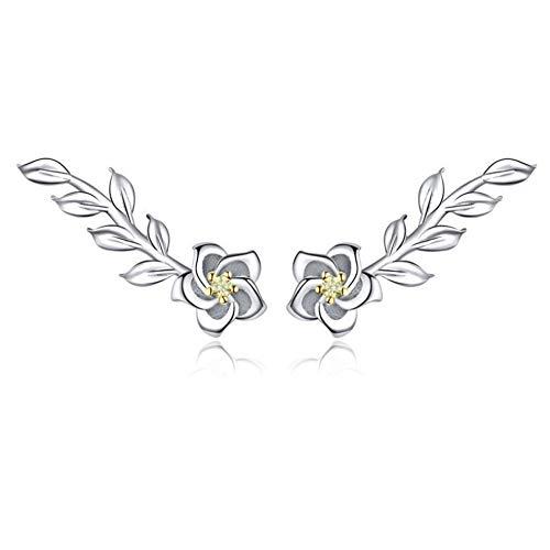 GAOHONGMEI Ohrstecker aus 925er Sterlingsilber, Gänseblümchen-Design, einfache Blatt-Ohrringe, Platinschmuck, für Mädchen und Damen Gr. One size, silber