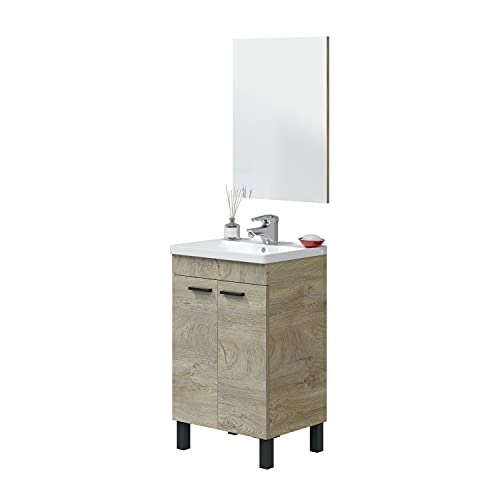 Miroytengo Mueble baño Aseo + Espejo Roble Alaska 2 Puertas Industrial Moderno 50x40 cm con LAVAMANOS CERÁMICO