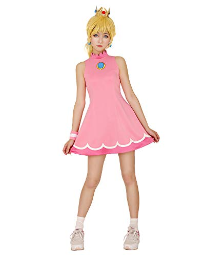 miccostumes Women's Princess Peach Tennis Dress Cosplay Costume with Crown (S)