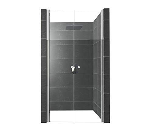 DURASHOWER Duschnischentür aus ESG Glas 1950 mm x 1250 mm – 1280 mm x 6 mm nanobeschichtet Duschwand Dusche Tür Duschkabine
