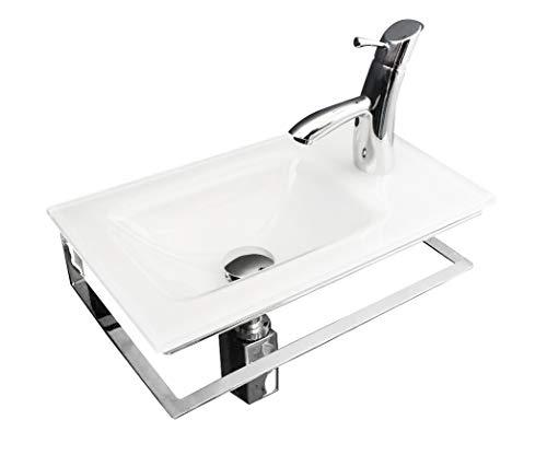 Gäste-WC Waschtisch aus Optiwhite Glas, weiss lackiert, mm 470x285x15 mit Edelstahl-Untergestell