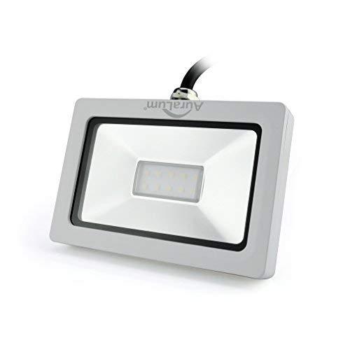 Auralum super slim 10W LED Flutlicht Fluter Strahler 220V Außenleuchte, 750LM, 6000K, Kaltweiß,IP65 Wasserdicht, Aluminium,Floodlight in Weiß