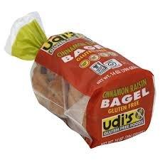 Udis Gluten Free Cinnamon Raisin Bagel 4 Ct (Pack of 4)