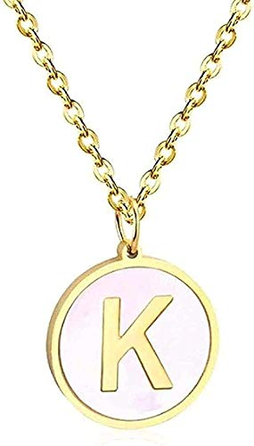 Collar de joyería para mujer, colgante de concha redonda de acero inoxidable, collar con colgante inicial de oro