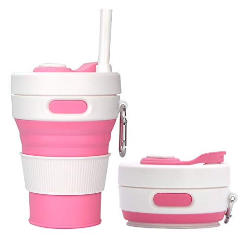 XHJBaby Pocket Collapsible Silicone Travel Coffee Cup –Barbie pink,6oz/450ml   Straw Included