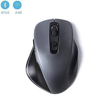 Bluetoothマウス ワイヤレスマウス Bluetooth&無線2.4GHz両対応 2400DPI高精度 3台設備接続可能 4段階DPI調整可能 Mac/Windows/surface/MicrosoftPro/Androidに対応 (両対応マウス)