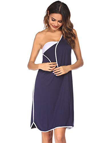 Evanhome Women's Maternity Nursing Nightgown Breastfeeding Sleepwear with Snap,Navy,Medium