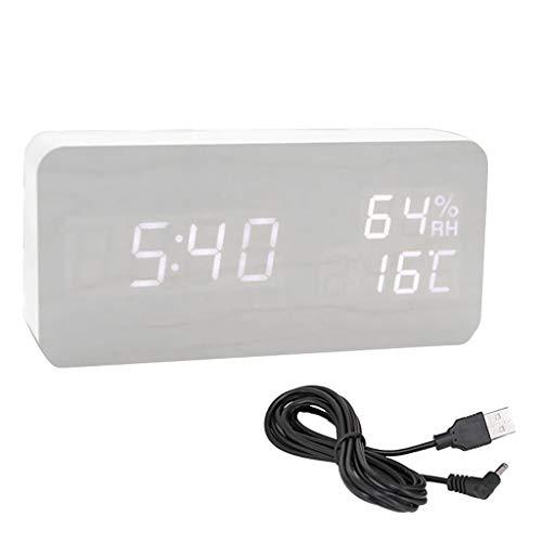 goneryisour Reloj despertador digital USB con día, fecha, temperatura y humedad