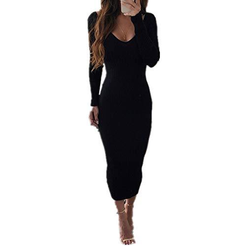 N\P Las mujeres paquete de cadera de punto vestido de invierno sexy bajo pecho profundo cuello en V elegante delgado vestido bodycon otoño lápiz largo mujer