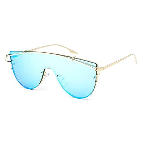 ZHHk Gafas con Montura Dorada Gafas De Sol Sin Marco Integradas con Protección UV400 Unisex Gafas de Sol (Color : Blue)