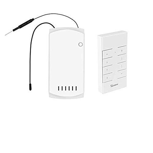 SONOFF IFan03 Deckenlüftersteuerung Smart Switch-Steuerung WiFi Smart Deckenlüfter-Lichtsteuerung RF/APP-Fernbedienung EIN/Aus-Steuerung Lüfter Kompatibel mit Alexa Google und IFTTT