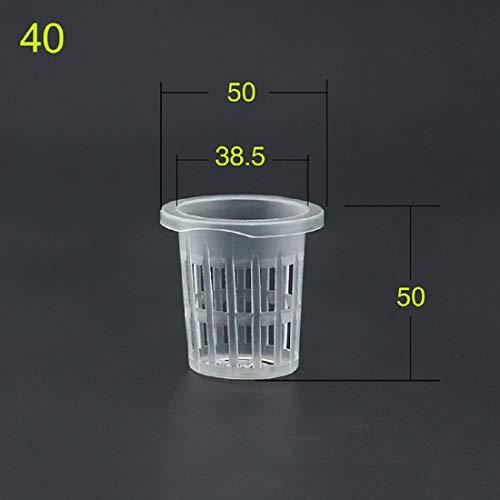 Allinlove 50 Stücke Weiß Net Pot Blumetopf Hydroponics Garden Mesh Net Cup Töpfe Kunststoff Hydroponics Net Pot Eimer Korb für Hydroponics Pflanzen Supplies (5cm)